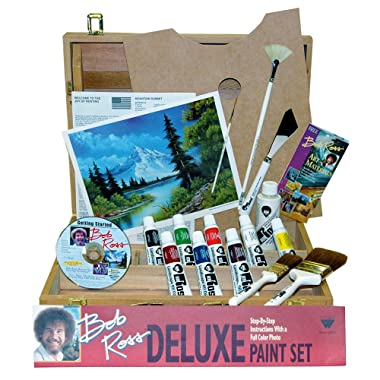 BobRoss R6512 Deluxe Wood Box Master Paint Set With One Hour DVD