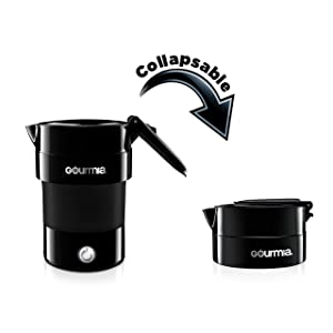 Gourmia GK338B Electric Collapsible Travel Kettle - Foldable & Portable - Fast Boil - Water Heater For Coffee, Tea & More - Food Grade Silicone - Boil Dry Protection -1 Qt -4 Cup -Black