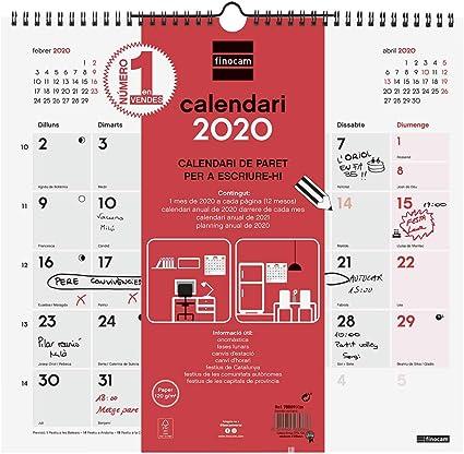 Finocam - Calendario de pared 2020 Escribir catalán: Amazon.es: Oficina y papelería