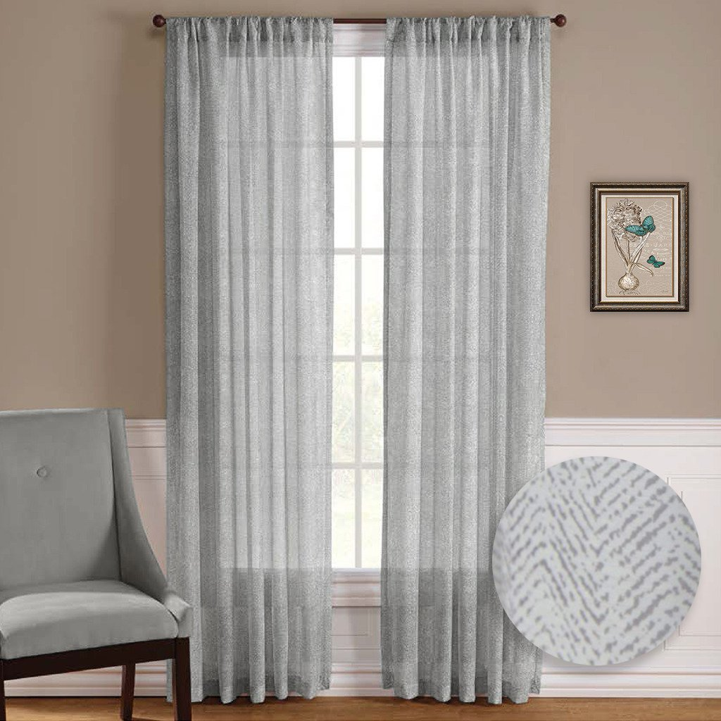 Curtains with hooks on the back 187 home design 2017 - Nicetown One Pair Zigzag Chevron Pattern Sheer Window Curtains Drapes