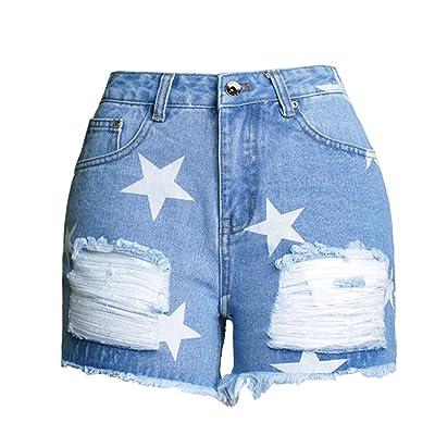 Baymate Femme Été Short en Jean Taille Basse Stars Motif Trou Ripped Shorts Jeans Hot Pants