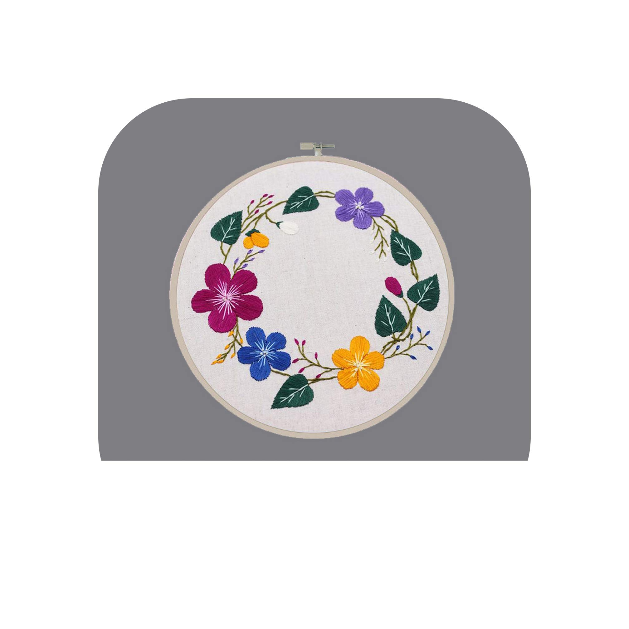 DIY Embroidery for Beginner Needlework Kits Cross Stitch Flowers Collections Paintings Lavender Wall Art Home Accessories,JH051,with Bamboo Frame by koweis