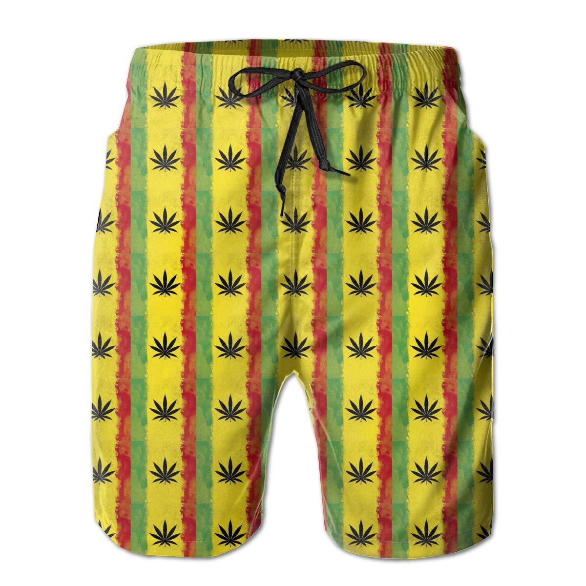 RolandraceWeed Reggae Mens Colorful Swim Trunks Beach Board Shorts with Lining