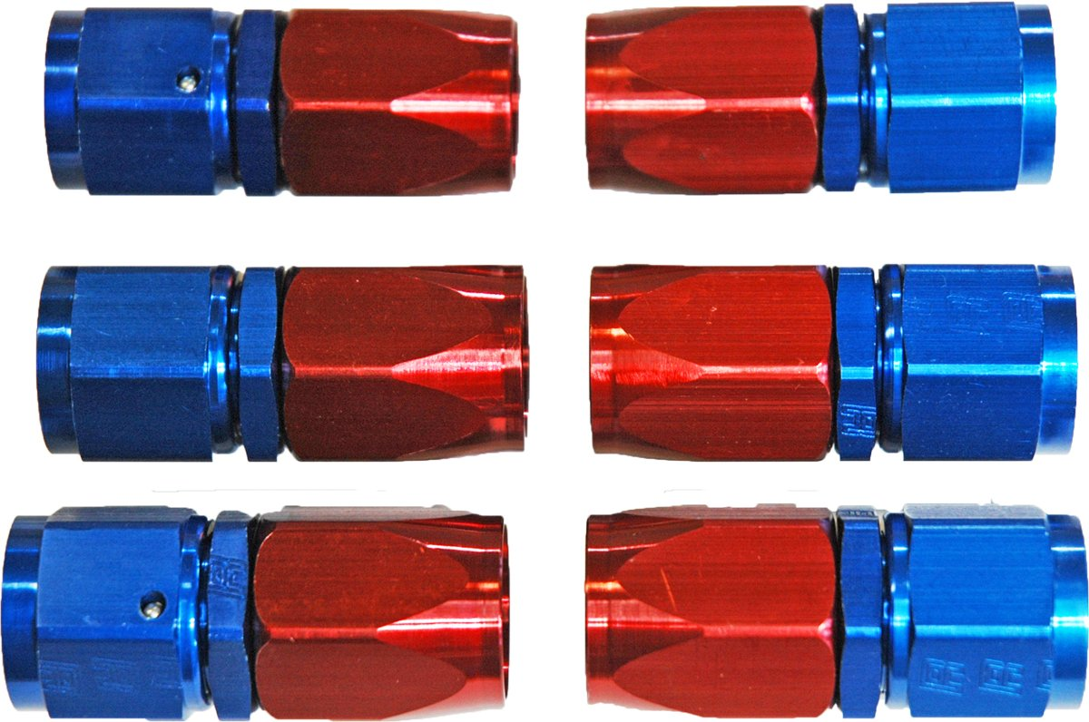 6 AN Red//Blue Hose Ends Braided Hose 6AN 4 Pack