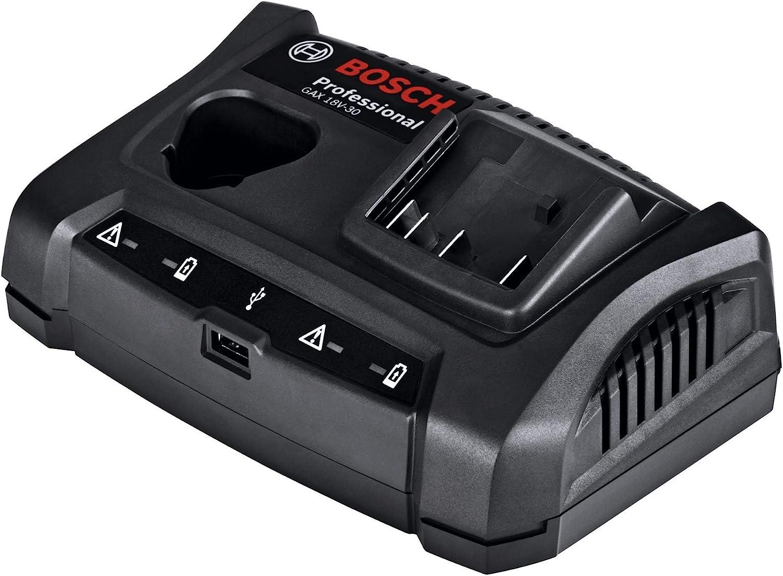 Bosch Professional GAX 18V-30 Cargador doble para batería de litio, puerto USB, 18 V, Negro