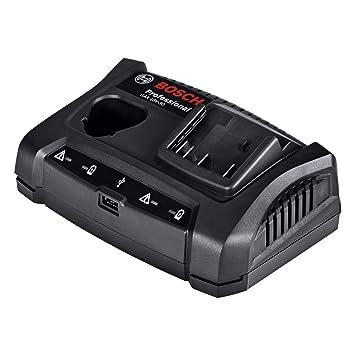Bosch Professional GAX 18V-30 - Cargador doble para batería de litio (10,8V / 12V / 14,4V / 18V, puerto USB)