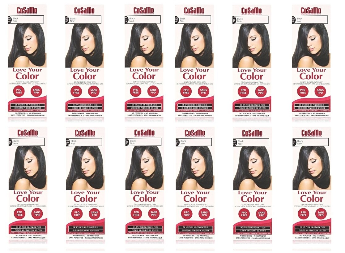 CoSaMo - Love Your Color Non-Permanent Hair Color 783 Black - 3 oz. (Pack of 12) + FREE LA Cross Manicure 74858