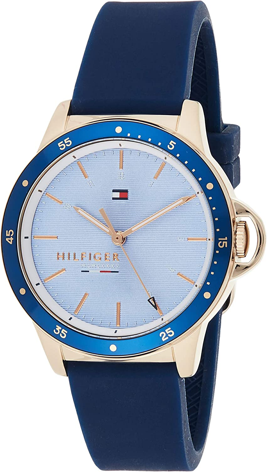Tommy Hilfiger Women's Stainless Steel Quartz Watch with Silicone Strap, Blue, 17 (Model: 1782027)