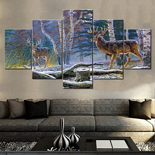 Wall Pictures for Living Room Portrait of Two Deers Paintings Animal Wall Art 5 Piece Prints on Canvas Nature Landscape Artwork Home Modern Decoration Framed Gallery-Wrapped Ready to Hang 60 Wx32 H