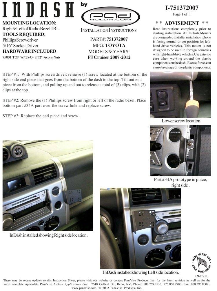Padholdr Edge Series Premium Tablet Dash Kit for 2007 -2014 Toyota FJ Cruiser