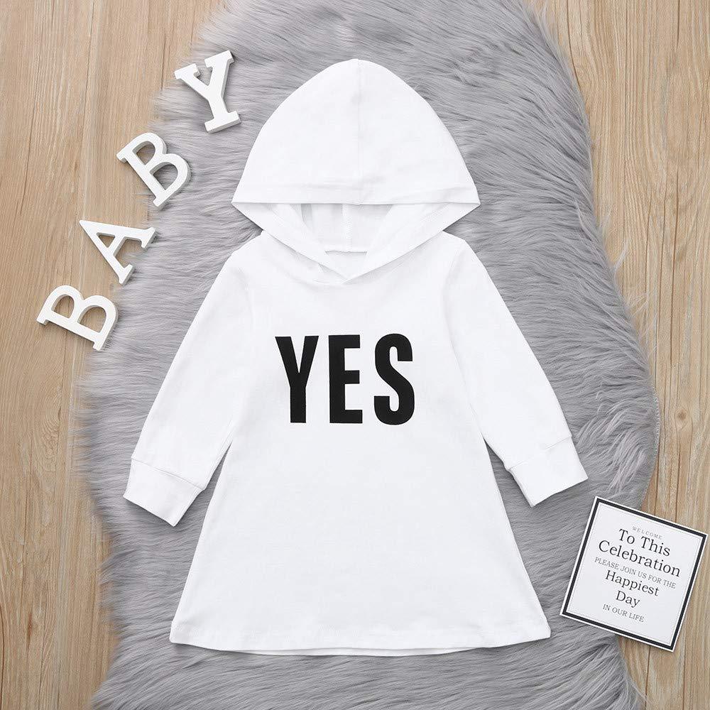 KONFA Toddler Baby Girl Letter Print Hooded Dress 0-4 Years,Little Princess Long Sleeve Skirt Fall Winter Clothes