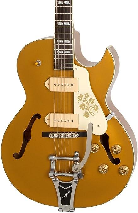 Epiphone Limited Edition es-295 Guitarra Eléctrica Cuerpo Hueco de Color Dorado Metálico