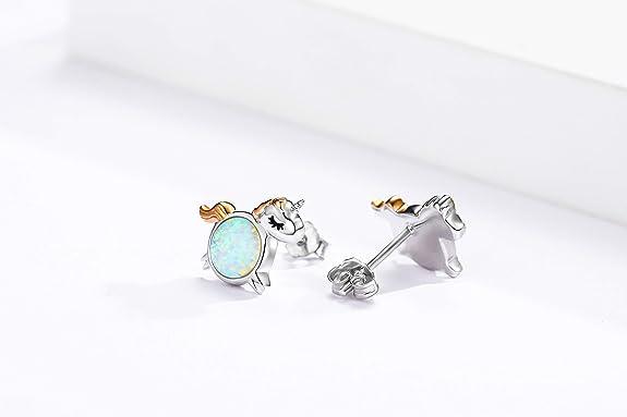 Damen-Ohrstecker Sterling Silber 925 Opal Delfine Ohrringe M/ädchen Delphin Geschenk f/ür Kinder,Frauen