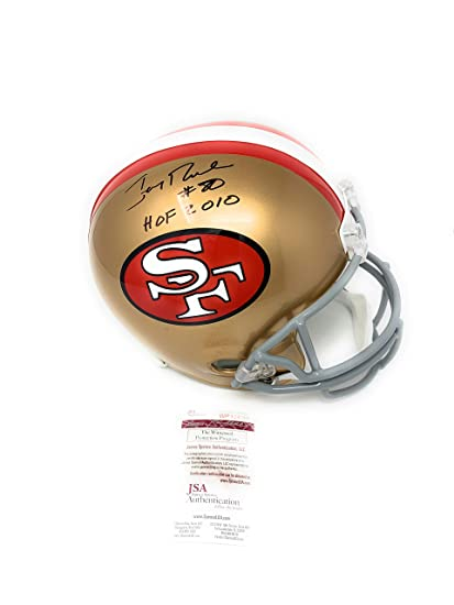 Jerry Rice San Francisco 49ers Signed Autograph Full Size Helmet HOF 2010  Inscribed JSA Witnessed Certified 0c248d3ab