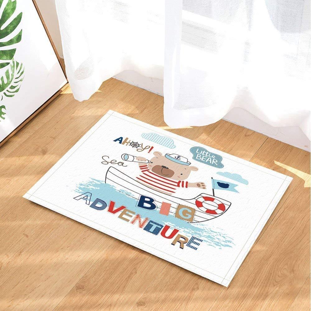 SHUHUI Süßer brauner Igel auf weißem Boden Wasserfest, haltbar, Rutschfest, Keine Chemikalien, Fußmatten, Fußmatten
