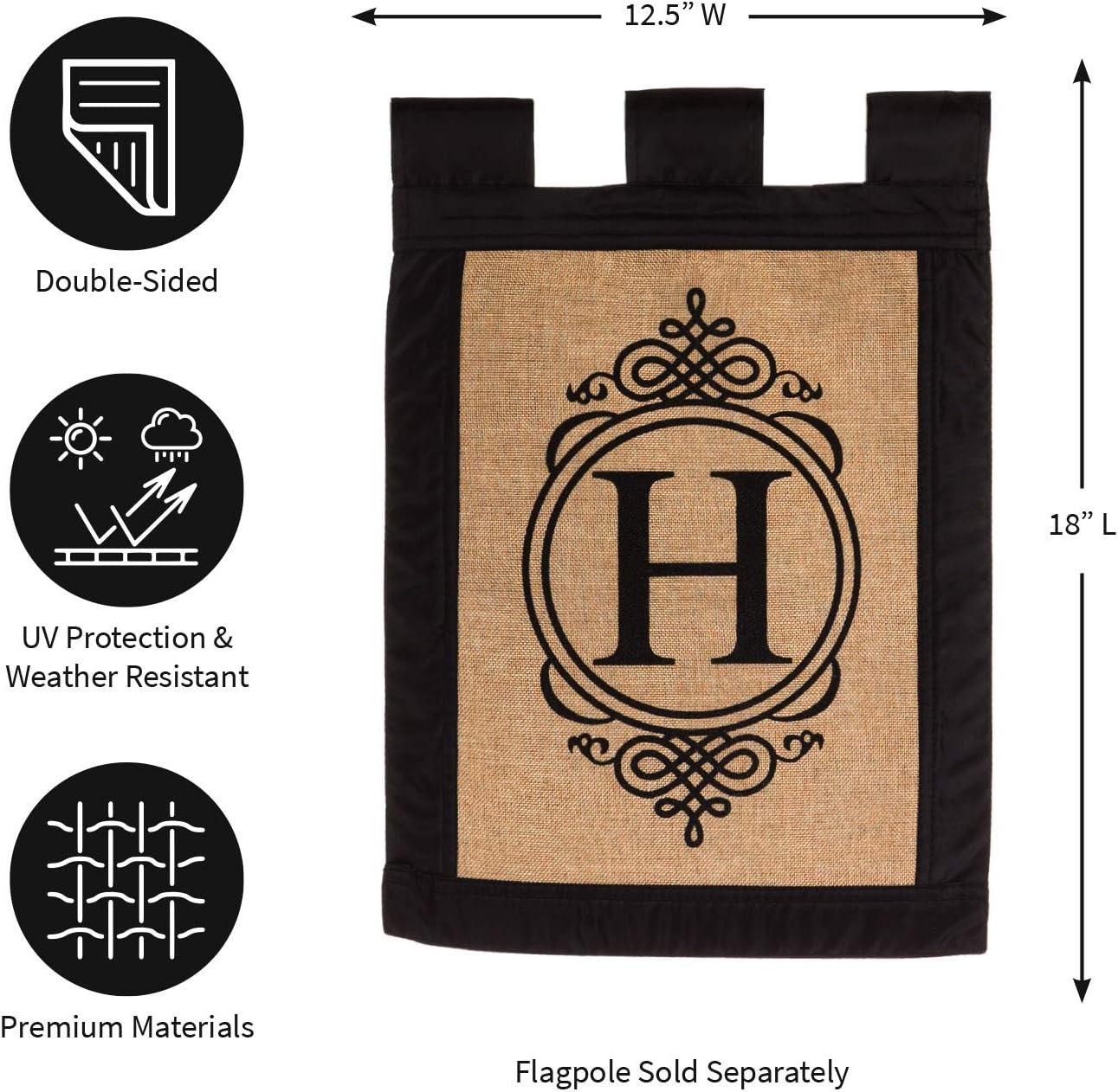 Monogram L Chevron Print Burlap 23 Inch Pennant Door Hanging Flag