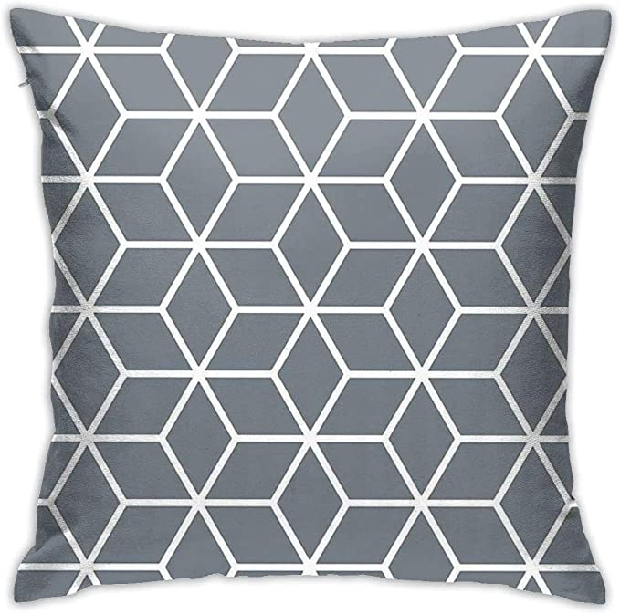 Image of YPPDPP Coolgrey Interlocked Hexagon Lattice Square Pillow Cases Cubierta de cojín Throw Pillow Cover Funda cojine Home Bed Room Interior Decoración