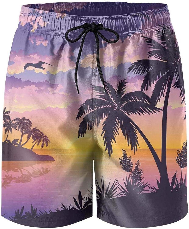 Beach Sunset with Palm Trees Mens Swim Shorts Stylish Swimming Trunks for Men Beach Shorts