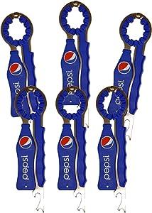 Jokari 6 Count Pepsi Modern Logo 3-in-1 Beverage Openers, Red/White/Blue