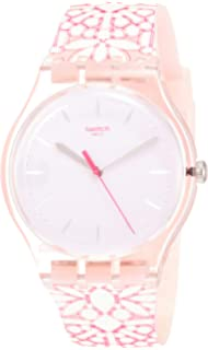 Swatch Womens Fleurie SUOP109 Pink Silicone Swiss Quartz Fashion Watch