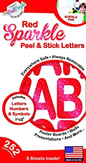 1 and 2 peel stick red sparkle letters everywhere safe decals