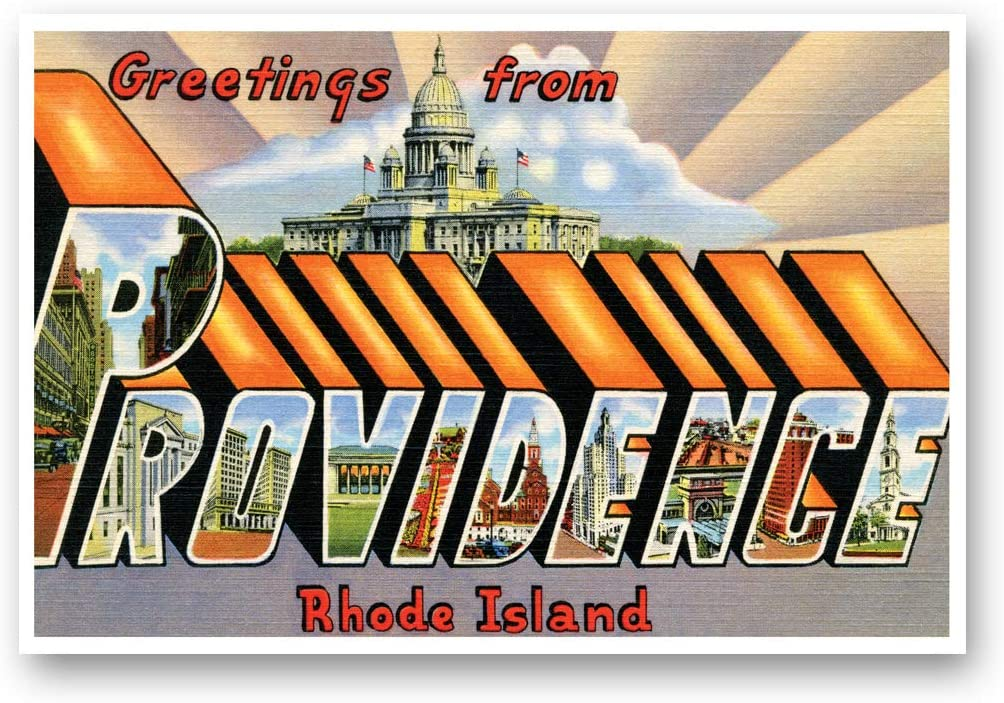 GREETINGS FROM PROVIDENCE, RI vintage reprint postcard set of 20 identical postcards. Large Letter Providence, Rhode Island city name post card pack (ca. 1930's-1940's). Made in USA.