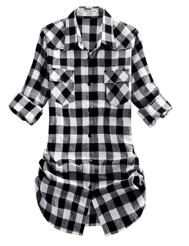 2021 Checks 6 Match Women's Long Sleeve Flannel Plaid Shirt
