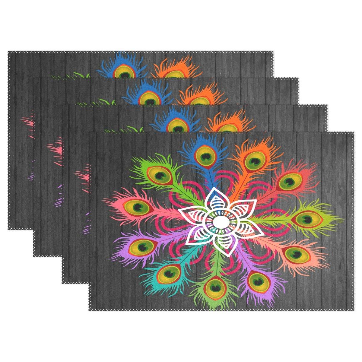 ダイニングプレースマットピーコックフェザーテーブルマットノンスリップStain耐熱性キッチンテーブルマット洗濯可能Doily ( Set of 6 ) 12*18 Inches (30cm x 45cm) fennen_013  Peacock Feather B07BDPFZGC