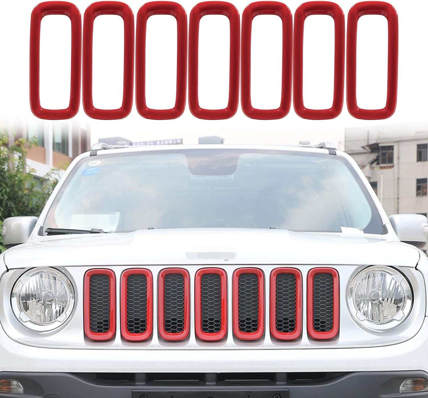 Yoursme Front Grill Grille Inserts for Jeep Renegade 2015 2016 2017 2018 ABS Grill Guard Cover Trim Red 7PCs