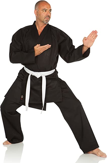 New Karate Uniform Medium Weight Karate Gi w//White Belt Taekwondo Uniform-BLACK