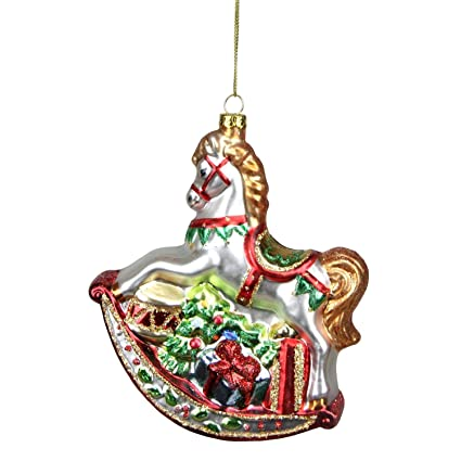 """Northlight Glittered Traditional Rocking Horse with Gifts Glass Christmas  Ornament, 5.25"""", ... - Amazon.com: Northlight Glittered Traditional Rocking Horse With"""
