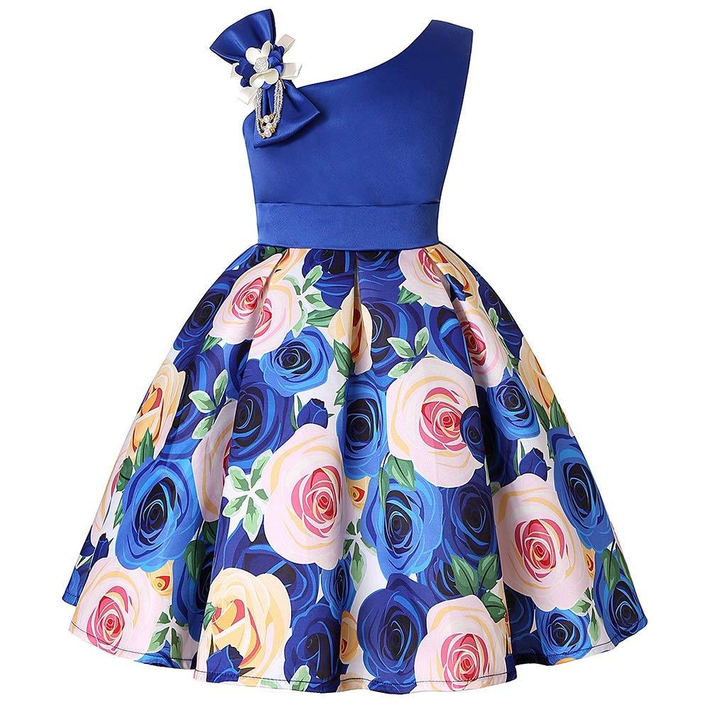 bleu 5 120CM Zhao Li Filles habillées épaule Oblique pour Enfants Robe Habiller fête Bleu   3   100CM, 4   110CM, 5   120CM, 6   130CM, 7   140CM, 8   150CM (Couleur   bleu, Taille   8 150CM)