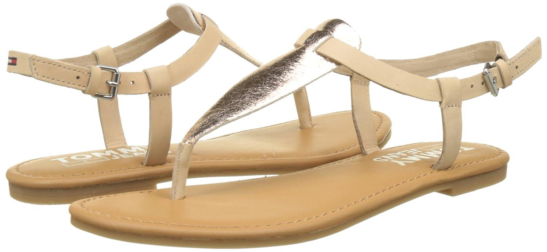 Hilfiger Denim Damen Metallic Metallic Damen Flat Thong T-Spangen Sandalen Pink (Rose Gold 638) 022f8c