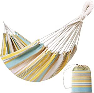 INNO STAGE Brazilian Hammock Indoor Hammock Extra Large Canvas Cotton Hammock with Carry Bag for Patio Porch Garden Backyard Lounging Outdoor and Indoor (Yellow Stripes)