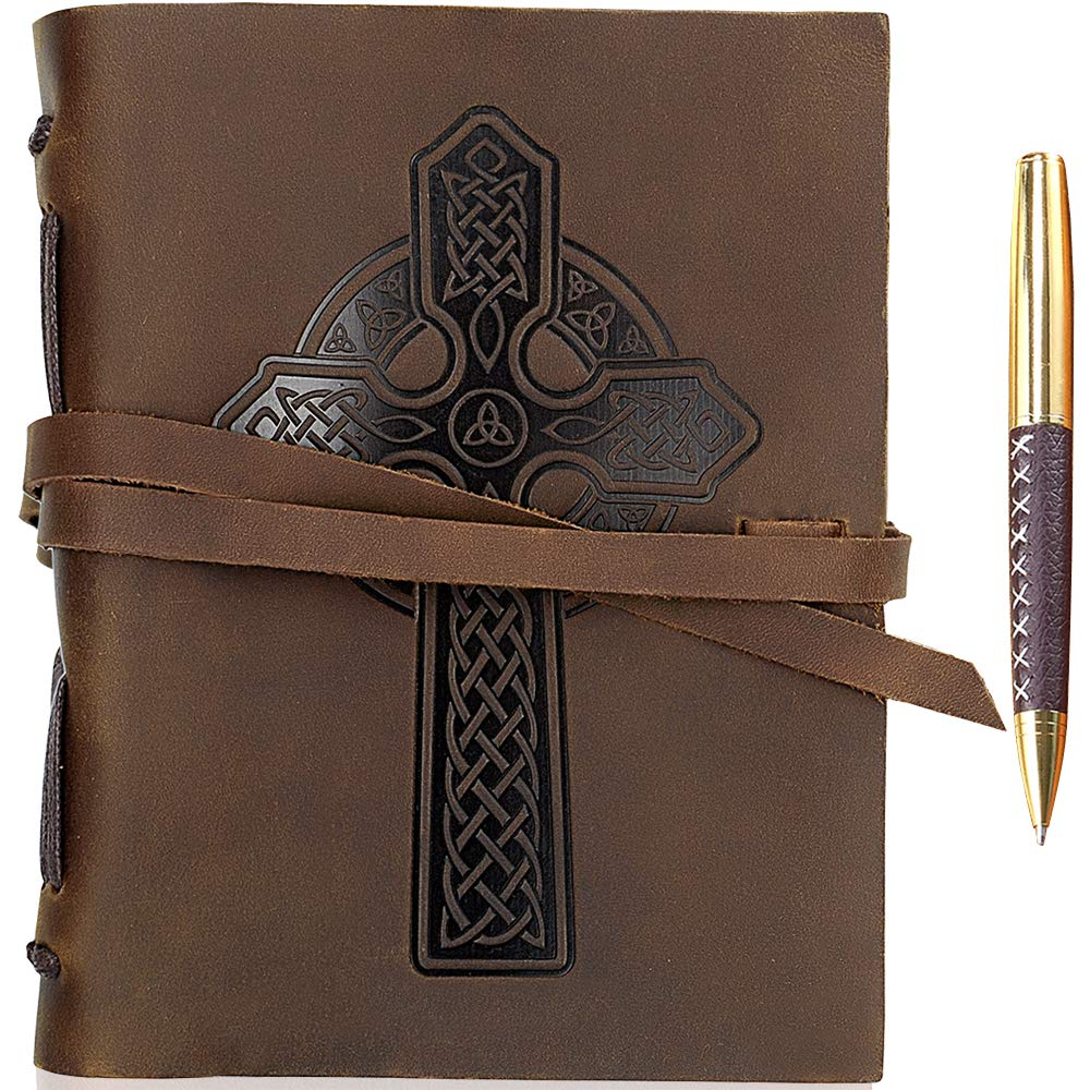 Leather Journal Celtic Cross Notebook Embossed Religious Christian Cross Handmade Travel Diary, A5 Vintage Writing Bound Journal For Men & For Women Antique Rustic Leather 6x8'' Engraved Prayer Journal by Sovereign-Gear
