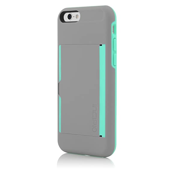 big sale 62891 4f76c Incipio IPH-1185-GRYTEAL iPhone 6S Case, Stowaway [Kickstand][Credit Card]  Wallet Cover fits Both Apple iPhone 6, iPhone 6S - Gray/Teal
