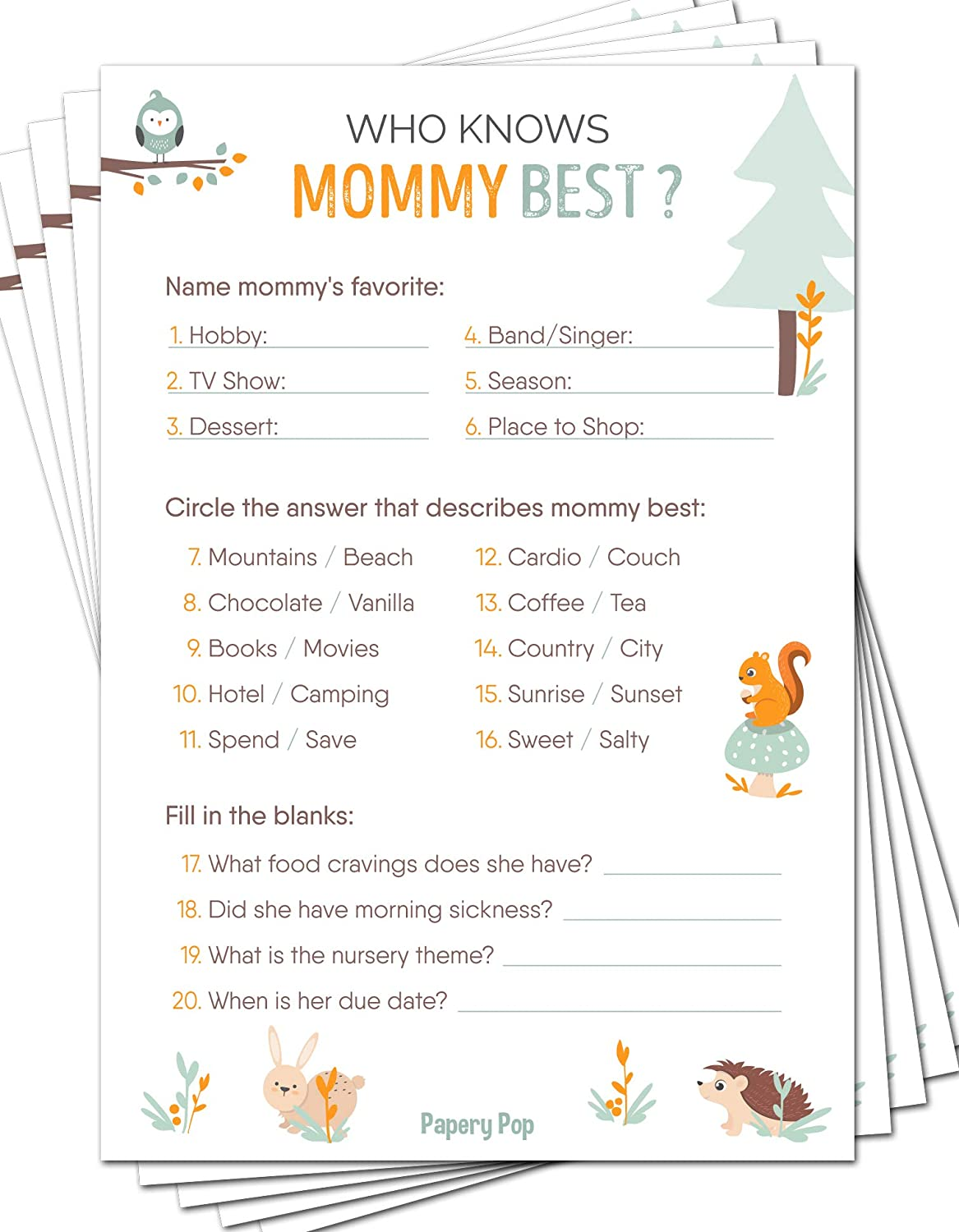 Who Knows Mommy Best Game Cards (Pack of 50) - Baby Shower Games for Boys or Girls - Gender Neutral - Party Activities Ideas Supplies - Woodland Animals