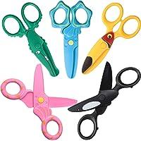 5 Pieces Plastic Child-Safe Scissor Set Cute Animal Toddlers Training Scissors Plastic Craft Scissors Preschool Training…