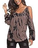 YOINS Camiseta de manga larga para mujer, elegante, sexy, con hombros descubiertos, para otoño e informal.