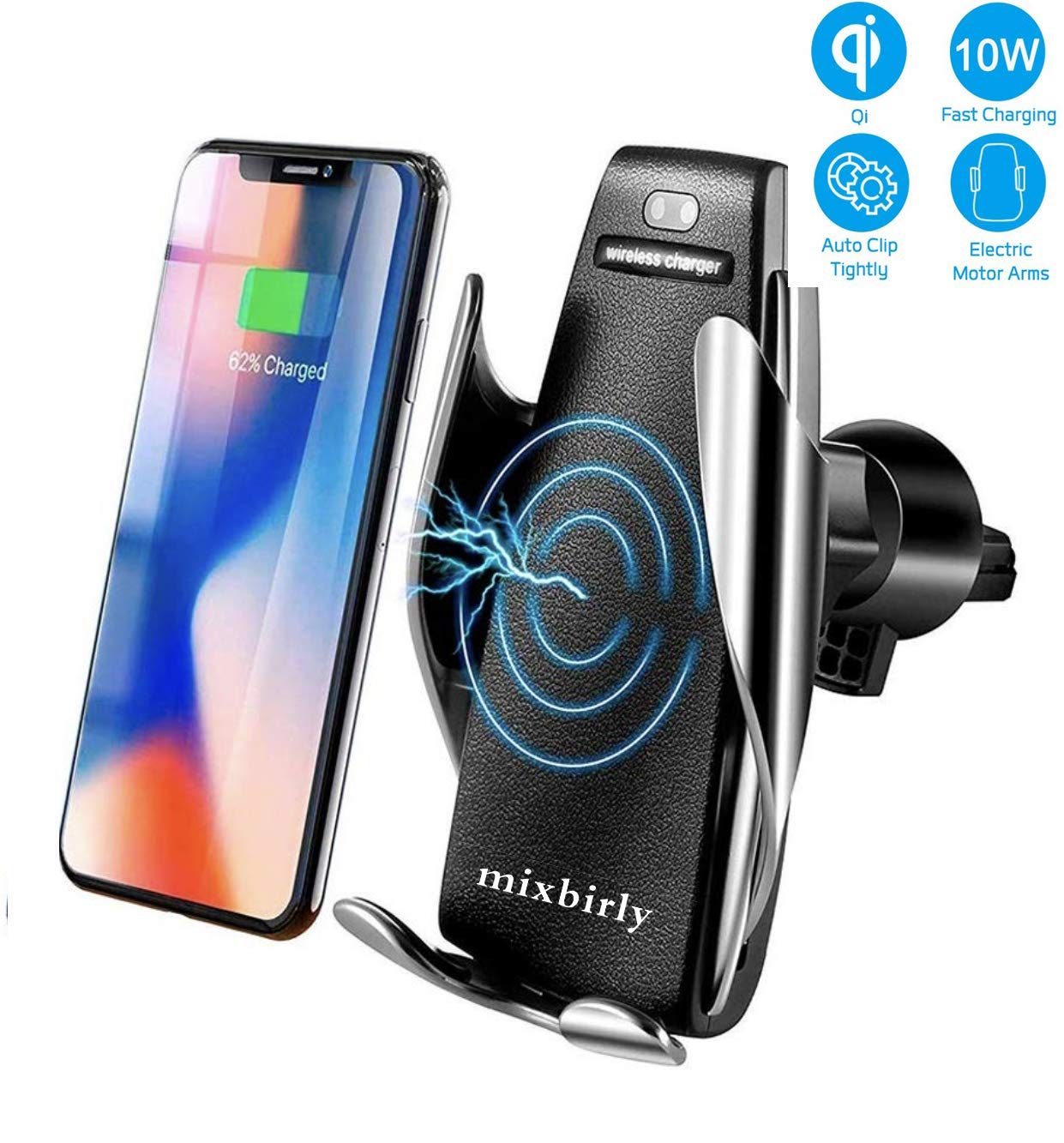MixBirly Compatible with Wireless Smart Sensor Car Charger Mount IR Intelligent Sensing Auto Clamping 10 W Fast Air Vent Holder for iPhone Xs XR XS Max X 8 8+ for Galaxy S9/9+ S8/8+ S7/7 by mixbirly