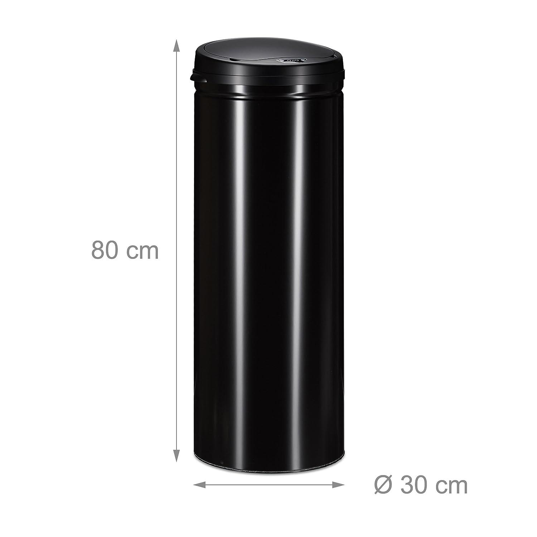 Negro 80x30x30 cm Acero Relaxdays Cubo Basura Cocina Redondo con Sensor
