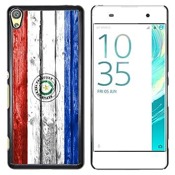 FJCases Paraguay Paraguayo Bandera con Patrón de Madera Carcasa Funda Rigida para Sony Xperia XA