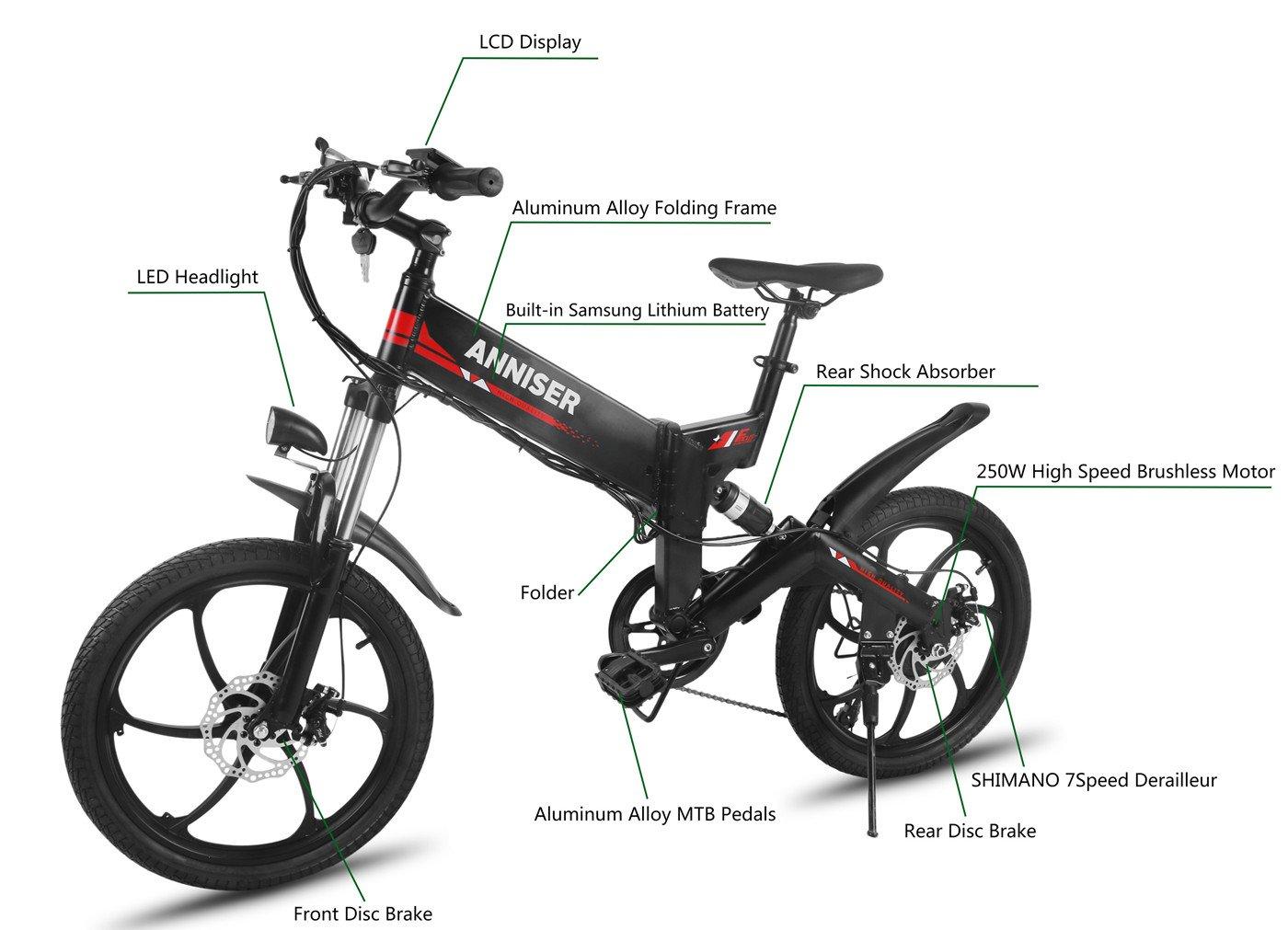 ANNISER - Bicicletas eléctricas de 50,8 cm. Bicicleta de montaña eléctrica plegable, 250 W, 48 V Samsung batería Cell E-Bike, bicicleta eléctrica para ...