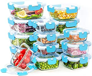 16 Pack Glass Food Storage Containers, 4 Sizes (4oz, 10oz, 15oz, 25oz), Leak Proof Storage Container Set, Glass Lunch Boxes