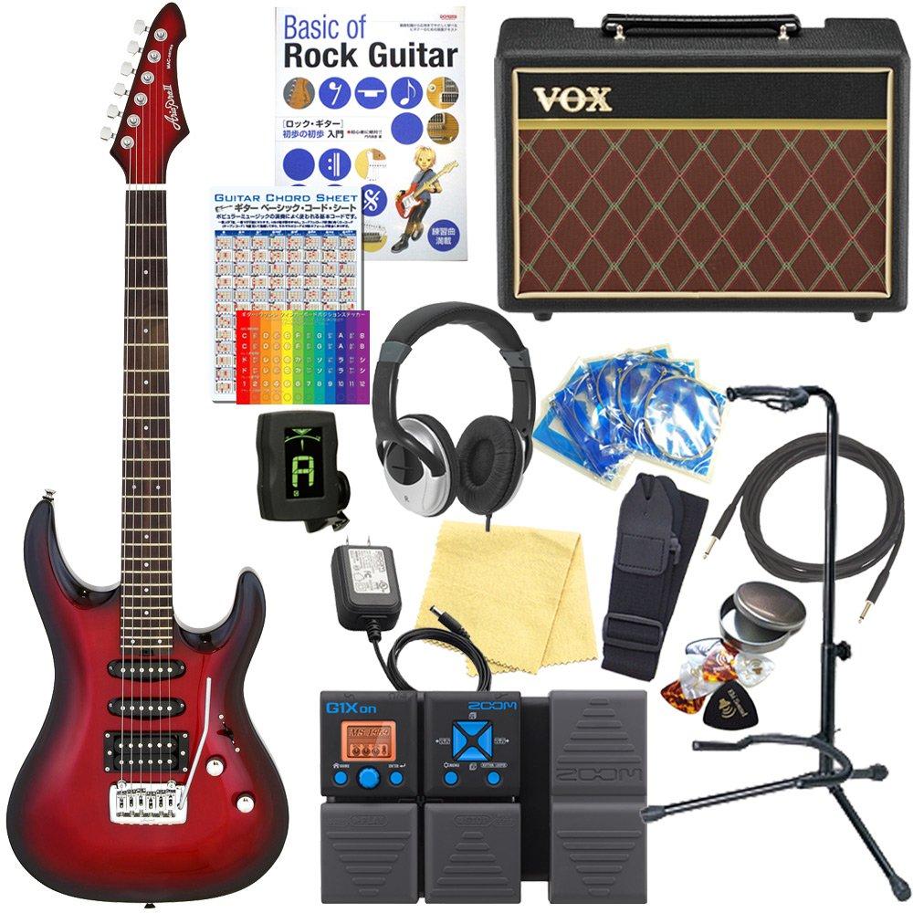 エレキギター 初心者セット AriaProII MAC-STD MRS VOXアンプ付 18点セット 【ZOOM G1Xon マルチエフェクター付】  MRS(Metallic Red Shade) B077MCF616