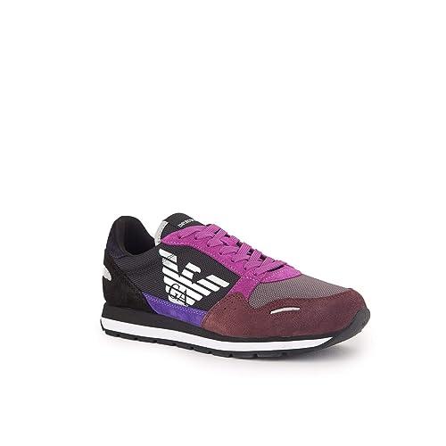 EMPORIO ARMANI Elia Zapatillas Moda Mujeres Negro/Burdeo - 36 - Zapatillas Bajas: Amazon.es: Zapatos y complementos