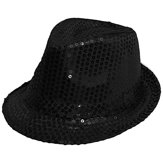 80327d566b9 Rimi Hanger Unisex Glitter Sequin Fedora Trilby Hat Adult Jazz Hat Gangster  Party Costume Hat Black