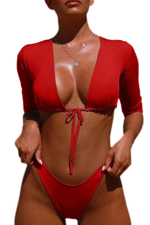 FAFOFA Womens V Neck Tie Knot Front Ruffed Thong High Cut 2PCS Bikini Sets Swimsuit FAF3626