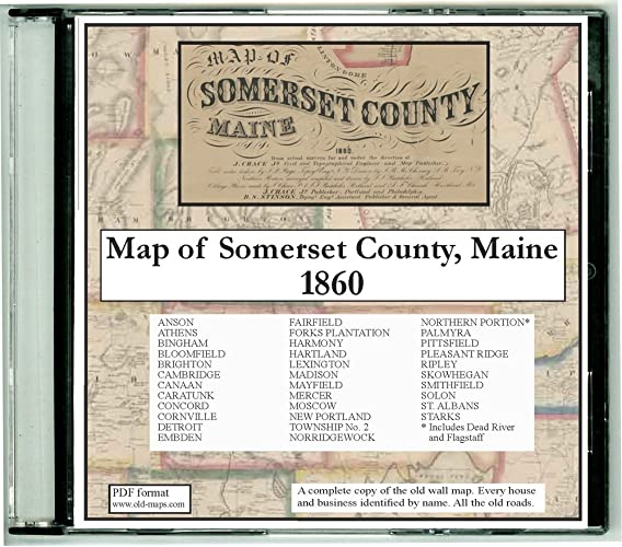 Amazon Com Map Of Somerset County Maine On Cdrom 1860 With