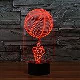 Illusion 3D Basketball LED Lampe 7 couleurs Touch USB Table joli cadeau Jouets Décorations